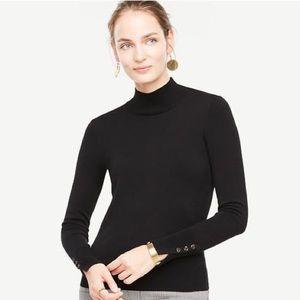 Ann Taylor Blue Turtleneck Button Cuff Sweater XS